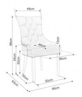 Casa Padrino Luxus Chesterfield Esszimmer Stuhl Schwarz / Silber / Schwarz - Küchenstuhl mit Samtstoff - Esszimmer Möbel - Vorschau 3