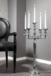 Casa Padrino Designer Kerzenhalter aus poliertem Aluminium Silber Shine Classic 5-armig Höhe 80 cm - Kerzenständer