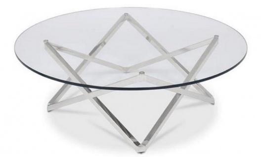 Casa Padrino Luxus Couchtisch Silber Ø 60 x H. 50 cm - Runder Wohnzimmertisch mit Glasplatte - Luxus Wohnzimmermöbel - Vorschau 2