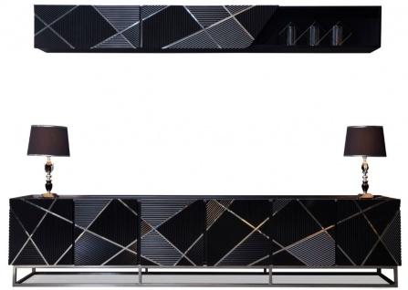 Casa Padrino Luxus Wohnzimmer TV Schrank Set Schwarz / Silber - 1 TV Schrank & 1 Wandregal - Edles Wohnzimmer Möbel Set - Luxus Qualität