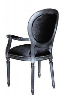 Casa Padrino Barock Esszimmer Stuhl mit Armlehne Schwarz / Silber - Designer Stuhl - Luxus Qualität - Vorschau 2