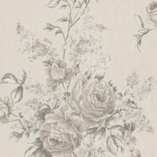 Casa Padrino Barock Textiltapete Creme / Grau / Beige 10, 05 x 0, 53 m - Tapete mit Blumenmuster