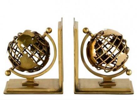 Casa Padrino Luxus Bücherstützen Globus Messing Finish Aluminium - Bücherstütze - Book End - Luxus Kollektion - Art Deco