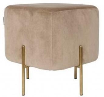 Casa Padrino Luxus Sitzhocker Beige / Messingfarben 40 x 40 x H. 45 cm - Designer Wohnzimmermöbel