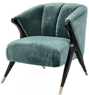 Casa Padrino Designer Sessel Ägäisches Grün / Schwarz / Messingfarben 71, 5 x 79, 5 x H. 77 cm - Luxus Möbel