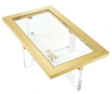 Casa Padrino Luxus Couchtisch / Wohnzimmertisch Gold 140 x 80, 5 x H. 43 cm - Wohnzimmermöbel