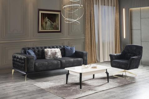 Casa Padrino Luxus Art Deco Couchtisch Weiß / Schwarz 110 x 70 x H. 42 cm - Edler Massivholz Wohnzimmertisch - Wohnzimmer Möbel - Vorschau 2