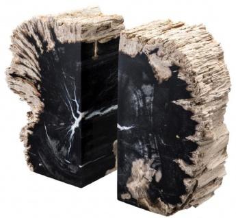 Casa Padrino Luxus Buchstützen Set aus versteinertem Holz Schwarz / Naturfarben 11 x 8 x H. 20 cm - Luxus Kollektion