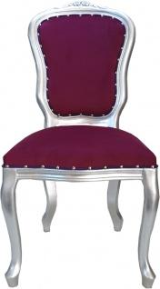 Casa Padrino Barock Luxus Esszimmer Stuhl Louis Lila / Silber - Barock Möbel