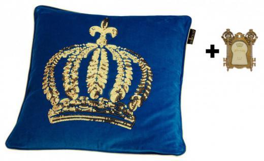Harald Glööckler Designer Zierkissen 50 x 50 cm Krone mit Pailletten Royalblau/Gold + Casa Padrino Bilderrahmen - Kissen Wohnzimmer Dekokissen