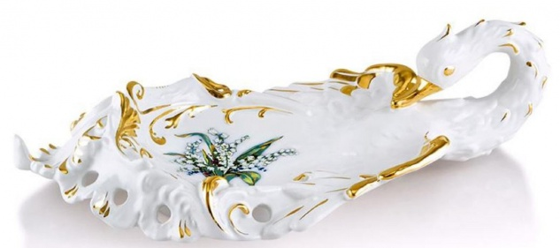 Casa Padrino Barock Serviertablett Schwan mit Lilien Weiß / Gold / Mehrfarbig 54 x 30 x H. 16 cm - Handbemaltes Keramik Tablett im Barockstil