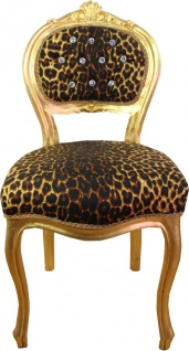 Casa Padrino Barock Damen Stuhl Leopard / Gold mit Bling Bling Glitzersteinen - Schminktisch Stuhl