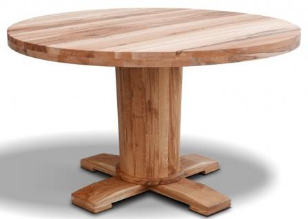Casa Padrino Luxus Massivholz Esstisch - Verschiedene Größen & Farben - Runder Eichenholz Küchentisch - Rustikale Esszimmer Möbel