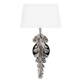 Casa Padrino Jugendstil Wandleuchte Silber / Weiss Höhe 47 cm, Breite 25 cm, Tiefe 18 cm Luxus Qualität - Leuchte Lampe - Barock