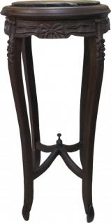 Casa Padrino Barock XL Beistelltisch mit Marmorplatte Rund Braun/Schwarz 91 x 41 cm Antik Stil
