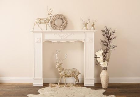 Casa Padrino Landhausstil Shabby Chic Kaminumrandung Antik Weiß 122 x 25 x H. 100 cm - Handgefertigte Deko im Landhausstil - Vorschau 2