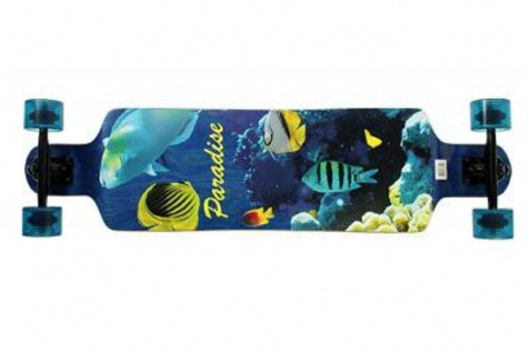 Paradise Longboard Drop Down Aquatic 39.8 x 10.0 Complete Longboard Komplettboard Cruiser mit Koston Kugellagern