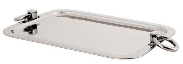 Casa Padrino Luxus Tablett Rechteckig Massiv Massive Ring Griffe Edelstahl, Schwere Ausführung, vernickelt 46 x 34 cm - Luxury Collection - 5 Sterne Gastronomie Einrichtung