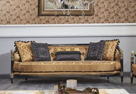 Casa Padrino Luxus Barock Chesterfield Sofa Gold / Schwarz 231 x 94 x H. 83 cm - Barock Wohnzimmermöbel