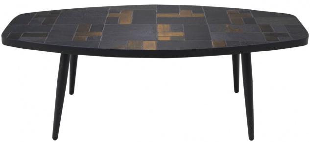 Casa Padrino Luxus Wohnzimmertisch Mehrfarbig / Schwarz 120 x 60 x H. 40 cm - Couchtisch mit Schieferplatten & Keramik Fliesen