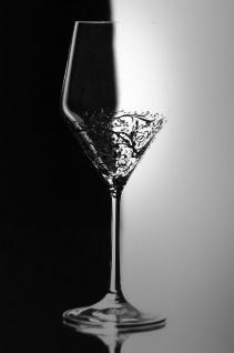 Casa Padrino Luxus Weißweinglas 6er Set Schwarz Ø 8, 6 x H. 22, 4 cm - Handgefertigte & handbemalte Weingläser - Hotel & Restaurant Accessoires - Luxus Qualität