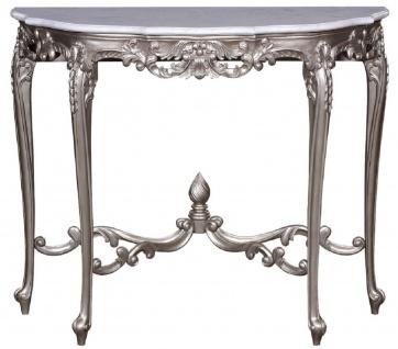 Casa Padrino Luxus Barock Konsole Silber / Weiß - Handgeferigter Massivholz Konsolentisch mit Marmorplatte - Barock Möbel