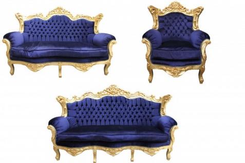 Casa Padrino Barock Wohnzimmer Set Royal Blau /Gold - 3er Sofa+2er Sofa + 1 Sessel