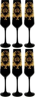 Pompöös by Casa Padrino Luxus Champagnerglas Set Schwarz / Gold Ø 6 x H. 25 cm - Champagnergläser mit 24 Karat Vergoldung - Pompööse Gläser designed by Harald Glööckler