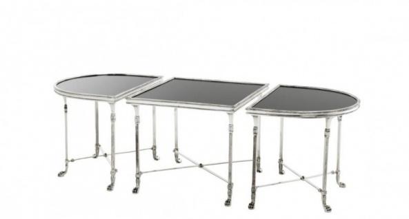 Casa Padrino Luxus Art Deco Designer Beistelltisch 3er Set Antik Silber mit schwarzem Glas - Hotel Tisch Möbel