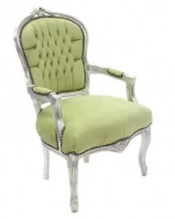 Casa Padrino Barock Salon Stuhl Jadegrün / Silber - Antik Design Möbel - Vorschau 2