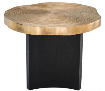 Casa Padrino Luxus Beistelltisch Messingfarben / Schwarz Ø 63, 5 x H. 50, 5 cm - Luxuriöser Beistelltisch mit Tischplatte im Baumscheiben Design - Vorschau 2