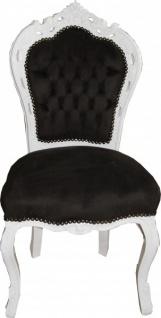 Casa Padrino Barock Esszimmer Stuhl Schwarz / Weiß - Möbel Antik Stil
