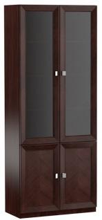 Casa Padrino Luxus Wohnzimmerschrank mit 4 Türen Dunkelbraun / Silber 90, 6 x 44, 2 x H. 225, 6 cm - Luxus Kollektion