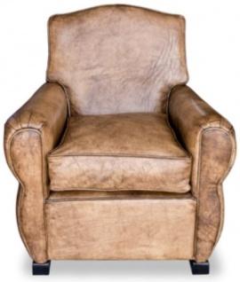 Casa Padrino Luxus Wohnzimmer Leder Sessel Vintage Hellbraun 80 x 88 x H. 86 cm - Echtleder Möbel