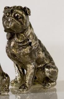 Designer Mops antik-silber Höhe 27 cm edle Skulptur aus Polyresin - Edel & Prunkvoll