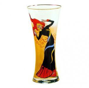 """Handgearbeitete Vase aus Glas mit einem Motiv von T. Lautrec """" Jane Avril 1"""", Höhe 29 cm - feinste Qualität aus der Tettau Porzellanfabrik - wunderschöne Vase"""