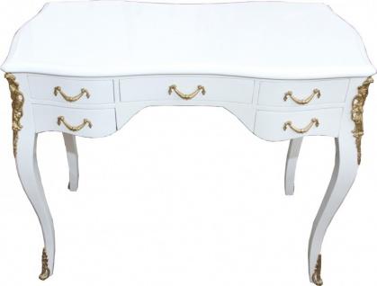 Casa Padrino Luxus Barock Schreibtisch Weiß Hochglanz / Gold 100 x 80 x 58 cm- Sekretär Luxus Möbel - Vorschau 2