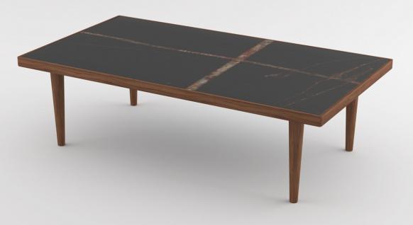 Casa Padrino Luxus Couchtisch Braun / Schwarz 130 x 70 x H. 45 cm - Moderner rechteckiger Massivholz Wohnzimmertisch mit Marmorplatte - Luxus Möbel