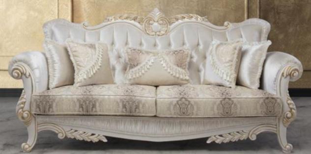 Casa Padrino Luxus Barock Sofa mit dekorativen Kissen Mehrfarbig / Weiß / Gold 237 x 81 x H. 115 cm - Barock Wohnzimmer Möbel