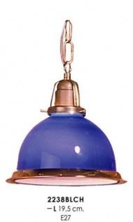 Klassische Pendelleuchte im Landhausstil Blau/Gold, Durchmesser 19, 5 cm, Leuchte Lampe