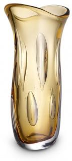 Casa Padrino Luxus Deko Glasvase Orange 19 x 14 x H. 39 cm - Elegante Blumenvase aus mundgeblasenem Glas - Deko Accessoires