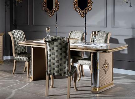 Casa Padrino Luxus Art Deco Esszimmer Set Beige / Gold - 1 Esstisch & 6 Esszimmerstühle - Handgefertigte Art Deco Esszimmer Möbel