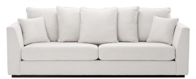 Casa Padrino Wohnzimmer Sofa mit 7 Kissen Weiß / Schwarz 255 x 100 x H. 90 cm - Luxus Couch - Wohnzimmer Möbel