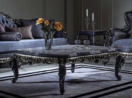 Casa Padrino Luxus Barock Couchtisch Weiß / Blau / Gold - Handgefertigter Massivholz Wohnzimmertisch im Barockstil - Prunkvolle Barock Wohnzimmer Möbel