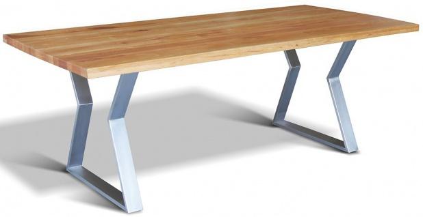 Casa Padrino Luxus Massivholz Esstisch mit rustikaler Eichenholz Tischplatte und Edelstahlbeinen - Verschiedene Farben & Größen - Esszimmer Tisch - Küchentisch - Esszimmermöbel