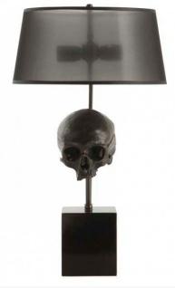 Casa Padrino Luxus Tischleuchte Skull Black / Antique Brass Finish - Leuchte Lampe - Tischleuchte Tischlampe Hockerleuchte