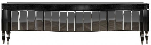 Casa Padrino Luxus Art Deco TV Schrank Schwarz / Silber 220 x 53 x H. 58 cm - Edler Fernsehschrank mit 4 verspiegelten Türen - Art Deco Wohnzimmer Möbel