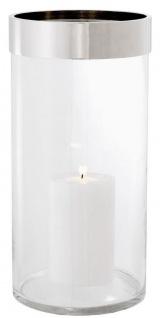 Casa Padrino Luxus Kerzenleuchter Silber Ø 20, 5 x H. 41, 5 cm - Runder Glas Kerzenleuchter mit Aluminium Ring - Luxus Qualität