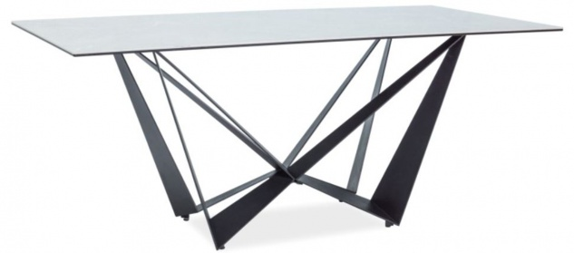 Casa Padrino Designer Esstisch mit Glasplatte in Marmoroptik Grau / Schwarz 180 x 90 x H. 76 cm - Luxus Esszimmer Möbel