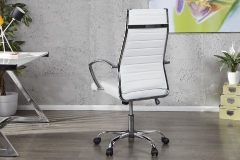 Casa Padrino Bürosessel Drehsessel Drehstuhl Bürostuhl Bürosessel Weiß / Chrom - Modern Line - Vorschau 3